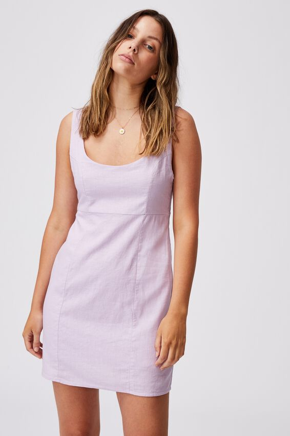 Woven Libby Strappy Mini Dress, LILAC BLOSSOM