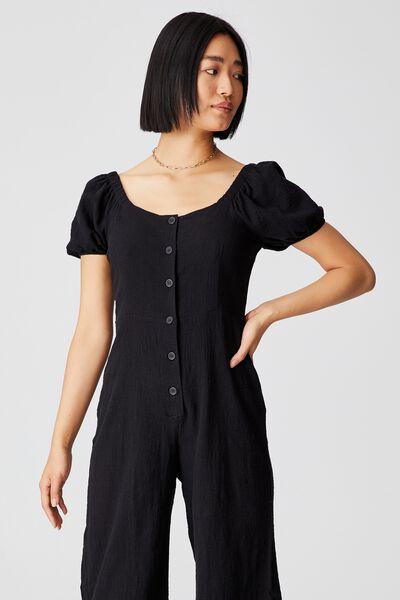 Woven Petite Juni Puff Sleeve Jumpsuit, BLACK