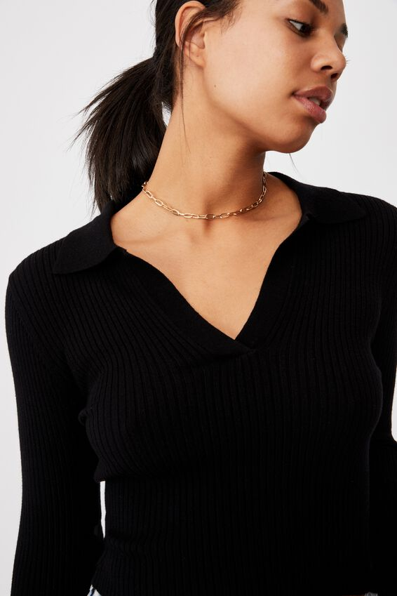 Long Sleeve Knit Rib Polo, BLACK