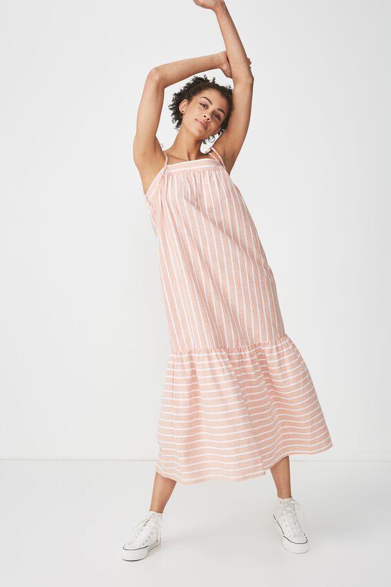 Woven Arabella Tie Shoulder Maxi Dress, SAHARA/WHITE STRIPE