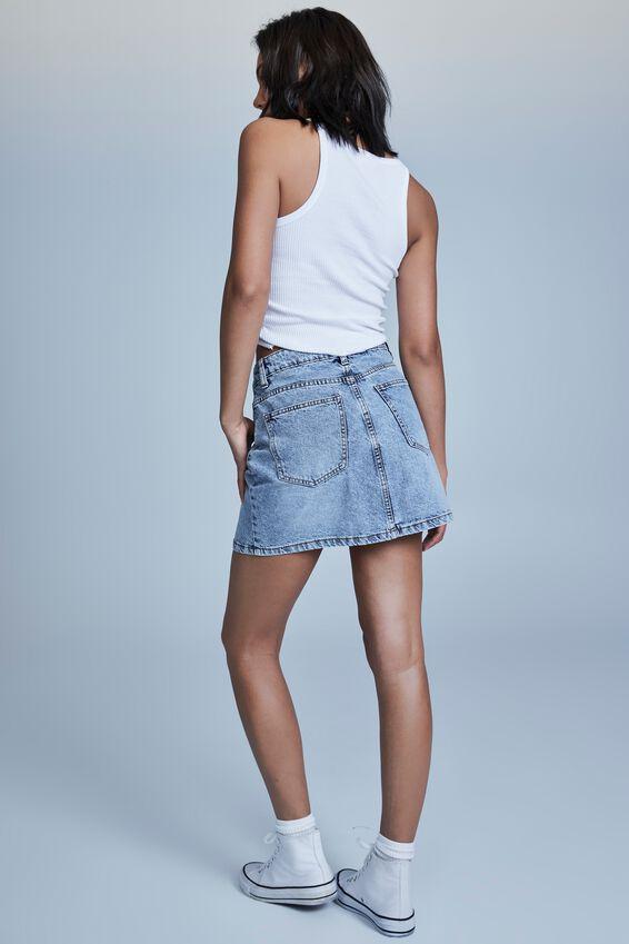 The Classic Denim Skirt, WATERGOES BLUE