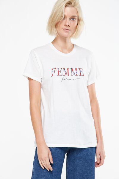 Tbar Fox Graphic T Shirt, FEMME/GARDENIA