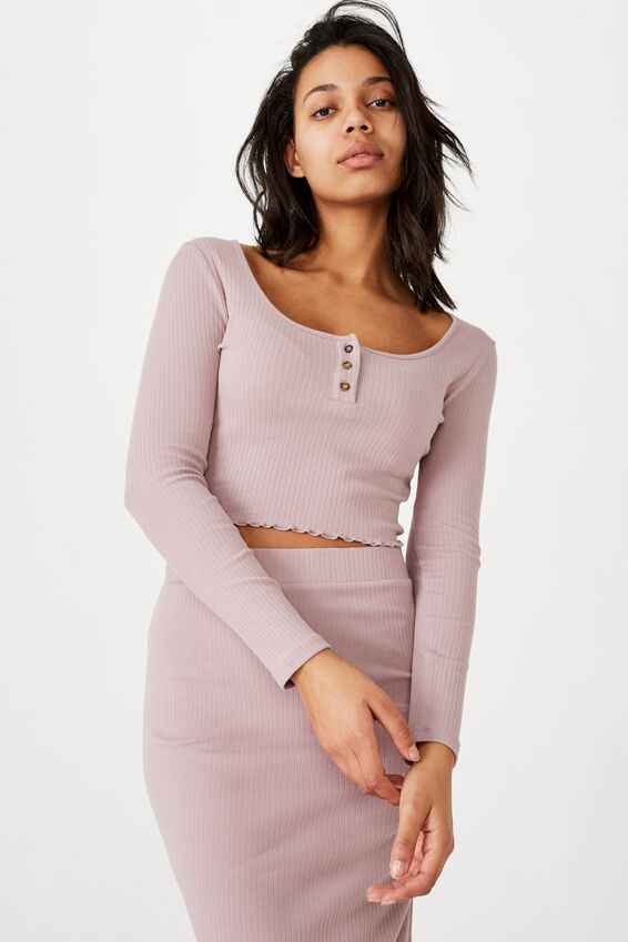 Bella Henley Long Sleeve Top, LILAC