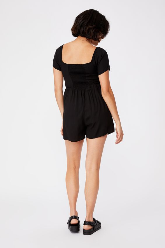 Woven Selena Short Sleeve Sweetheart Playsuit, BLACK
