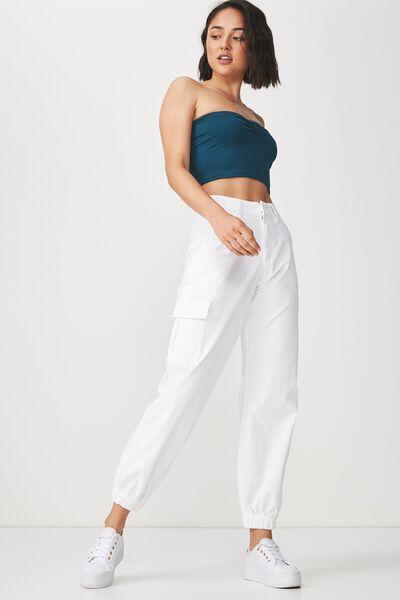 Carla High Waist Utility Pant, WHITE