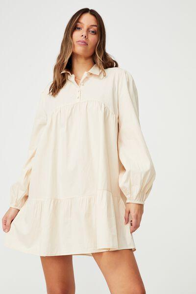 Woven Ls Babydoll Mini Shirt Dress, BARLEY