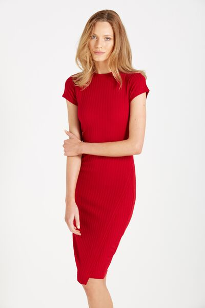 Anthea Short Sleeve Midi Dress, RUBY RED RIB TWIST