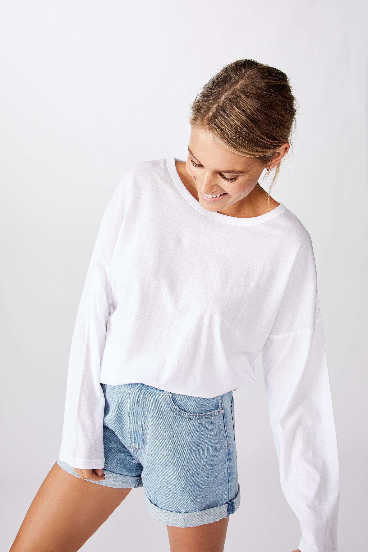 New Womens Ladies Plain Long Sleeve Tops T Shirt Size (8 14) (SM, Cream)