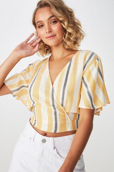 Carmel Wrap Top, DAISY STRIPE GOLDEN YELLOW