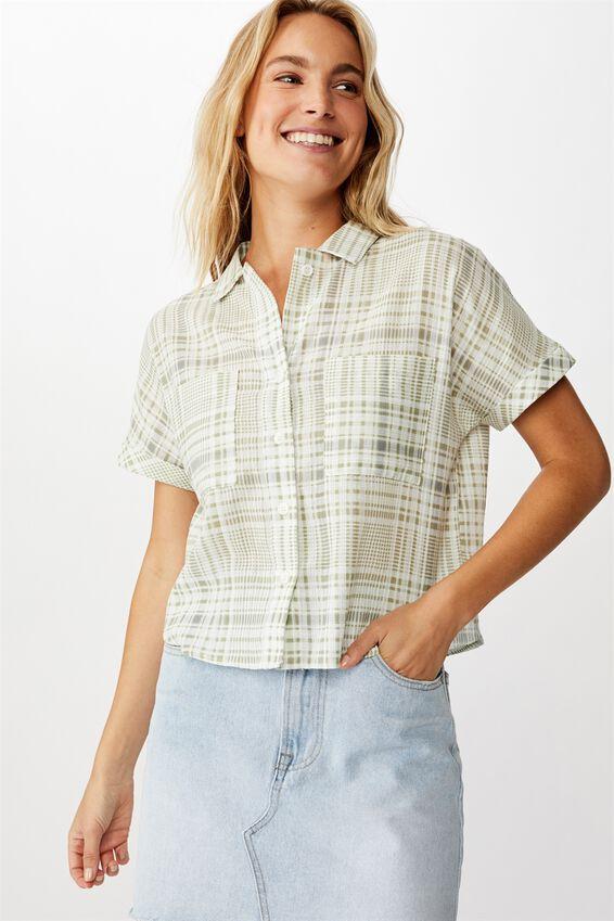 Erin Short Sleeve Shirt, KARINA CHECK TEA
