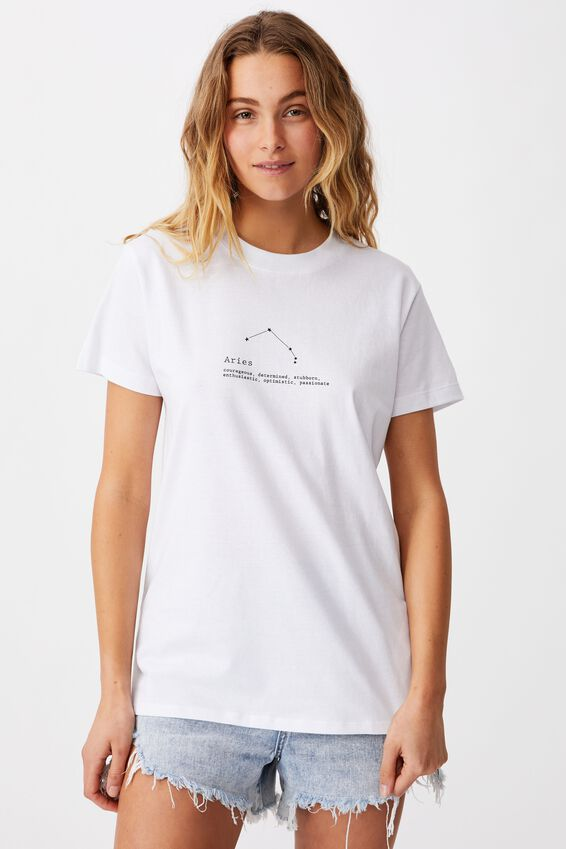 Classic Astrology T Shirt, ARIES/WHITE