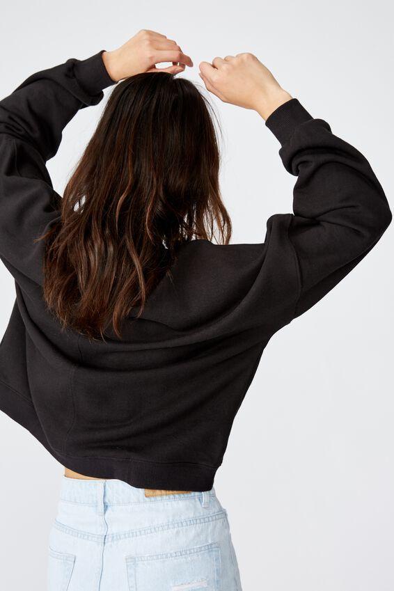 Harper Boxy Crew Graphic Fleece, MINIMALIST/WASHED BLACK