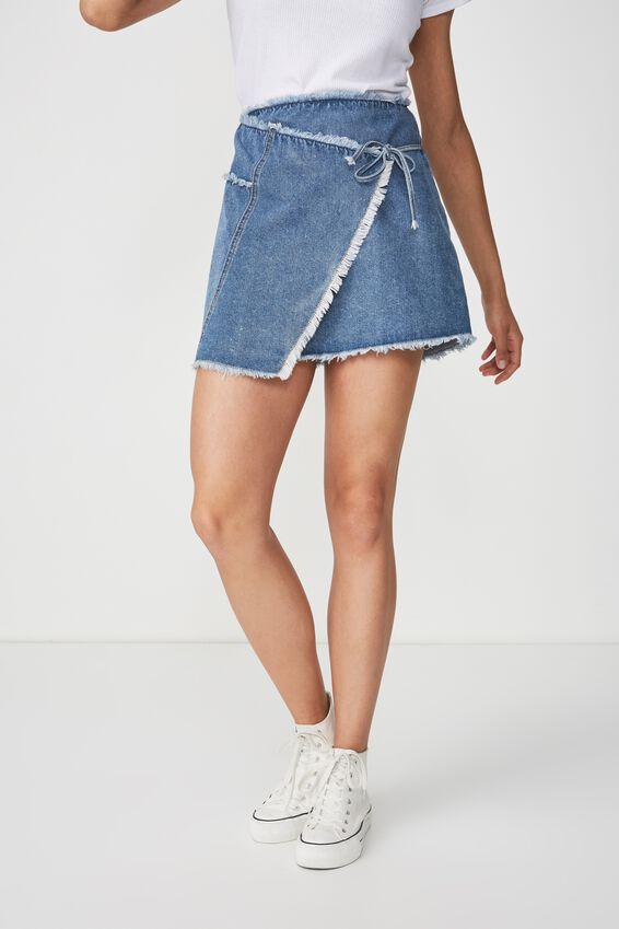 Wrap Denim Mini Skirt, CLEAN BLUE