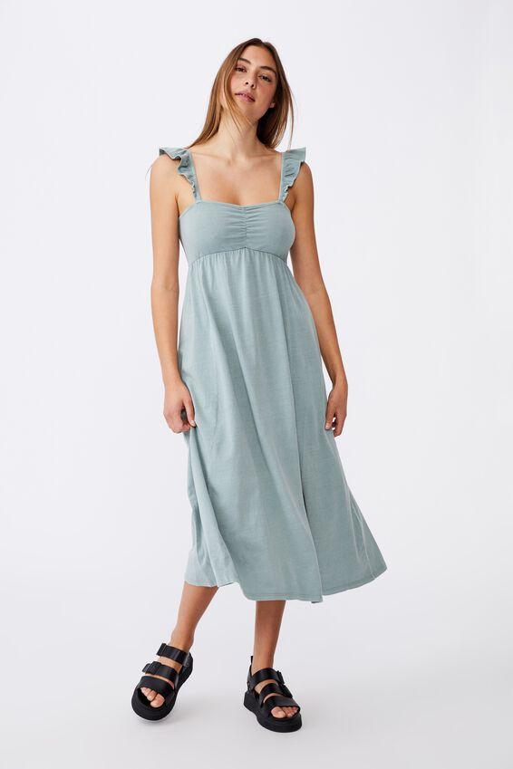 Gina Shirred Maxi Dress, CHINOIS GREEN