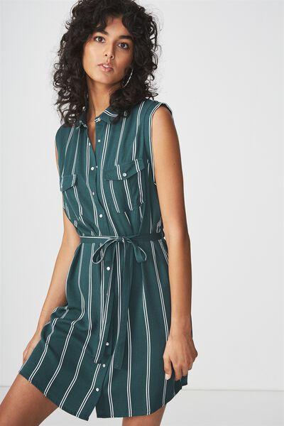 Woven Tilly Sleeveless Shirt Dress, LOLA STRIPE TREKKING GREEN/WHITE VERTICAL