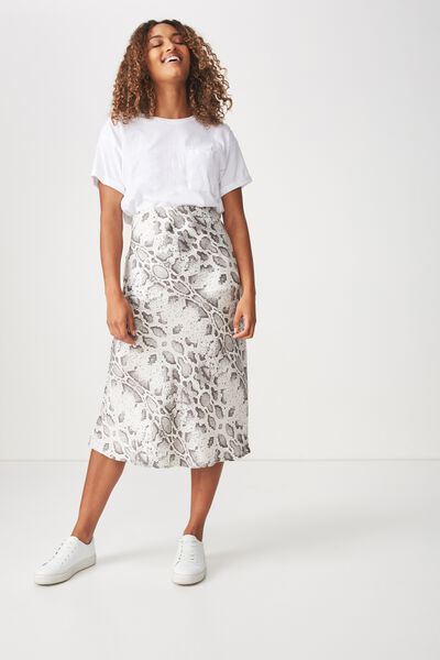 Woven Belle Bias Midi Skirt, BECCA SNAKE ELASTICATED