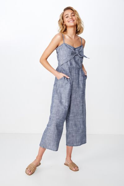 d0a0ccb01 Woven Tabatha Tie Front Culotte Jumpsuit, CROSS HATCH NAVY