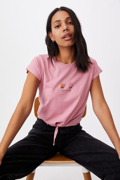 Tie Front Graphic Tee, CU TEA/BLUSH