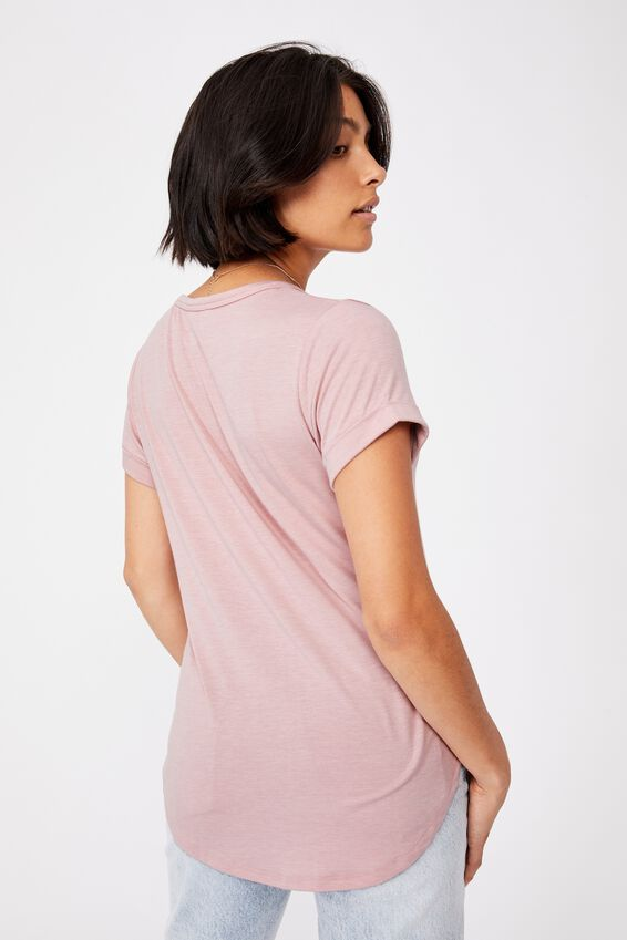 Karly Short Sleeve V Neck Top, ZEPHYR MARLE