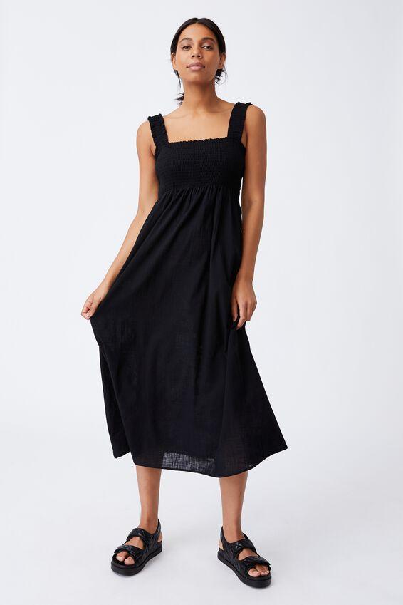 Woven Thea Strappy Open Back Midi Dress, BLACK