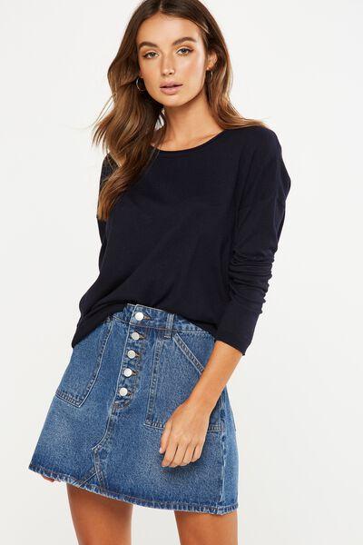 Everyday 2 Fine Gauge Pullover, NAVY MARLE
