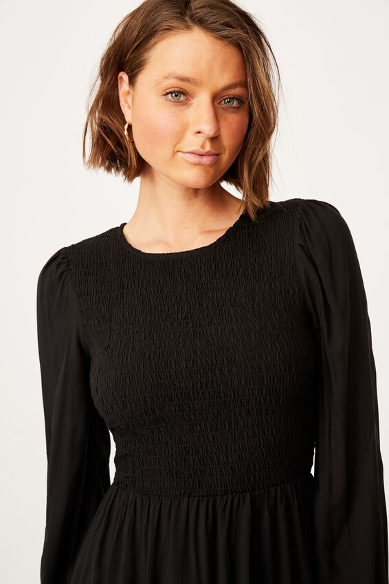 Woven Hope Long Sleeve Mini Dress, BLACK