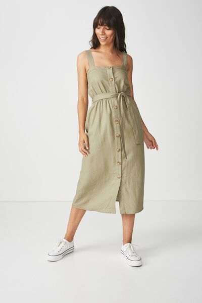 Woven Lyric Button Through Midi Dress, SILVER SAGE