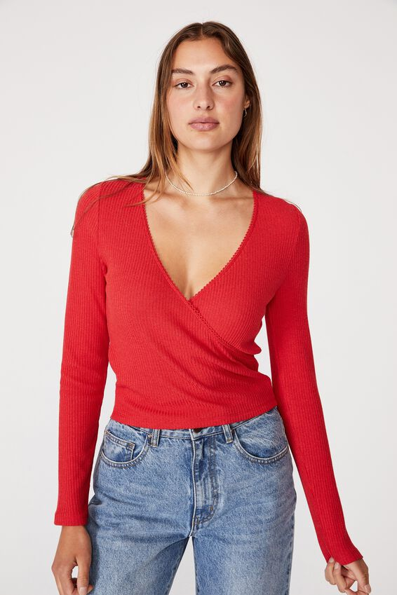 Wade Wrap Long Sleeve Top, LUCKY RED