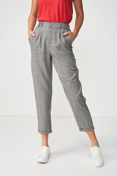 Abi High Waist Pant, NEUTRAL PRINCE OF WALES CHECK