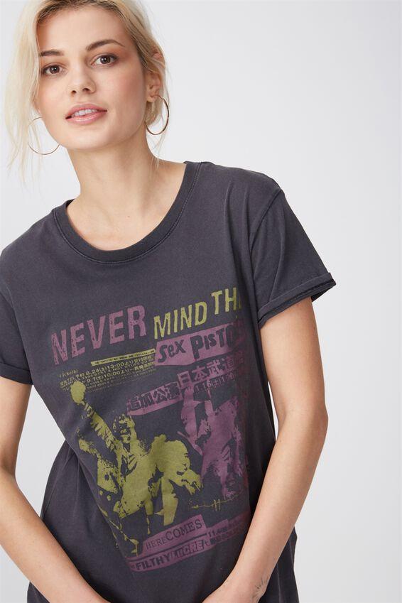 Tbar Fox Graphic T Shirt, LCN SEX PISTOLS AND NEVER MIND/EBONY