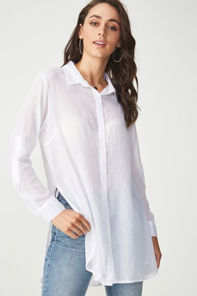 Longline Fashion Shirt, WHITE