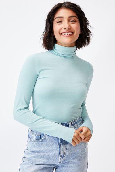 Basic Roll Neck Long Sleeve Top, HORIZON BLUE