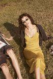 Woven Satin Midi Dress, GOLDEN PALM