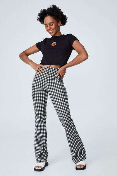 Pull On Flare Pant, MILLY MICRO GINGHAM BLACK