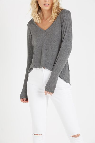Keira Long Sleeve T Shirt, CHARCOAL MARLE