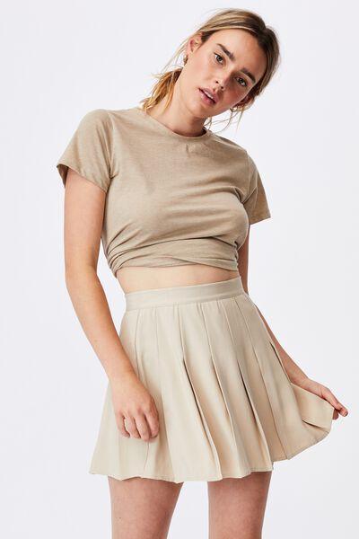Pleated Tennis Mini Skirt, LATTE