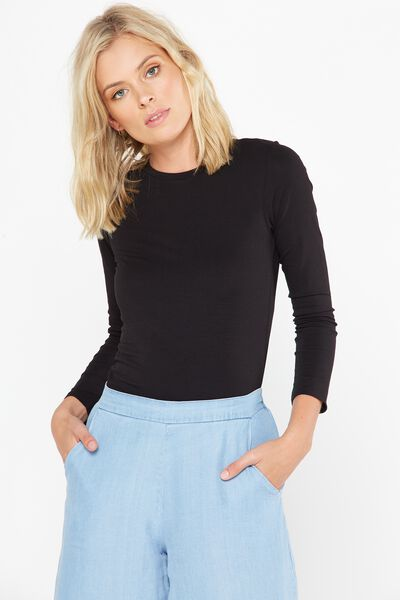 Basic Fitted Crew Long Sleeve Top, BLACK