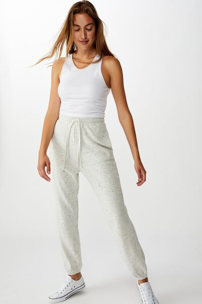 High Waisted Trackpant, GREY MARLE NEP