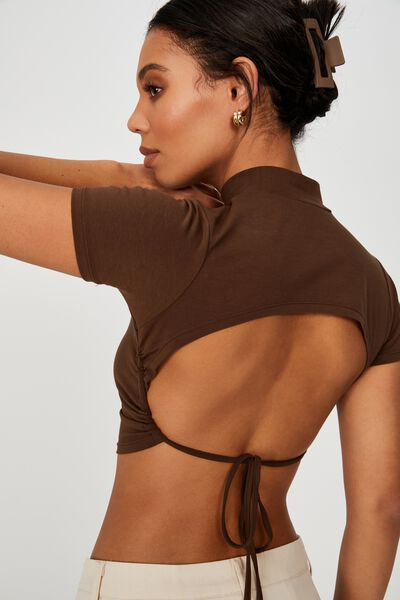 Evie Open Back Short Sleeve, BROWN