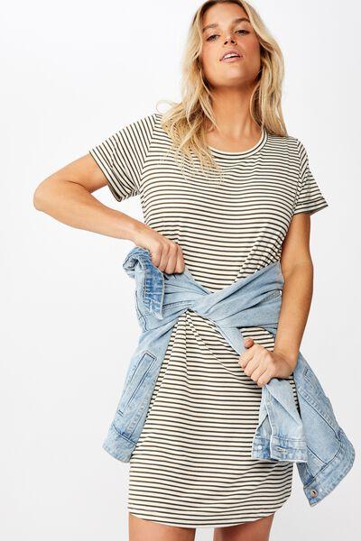Tina Tshirt Dress 2, LULU STRIPE GARDENIA/ OLIVE NIGHT