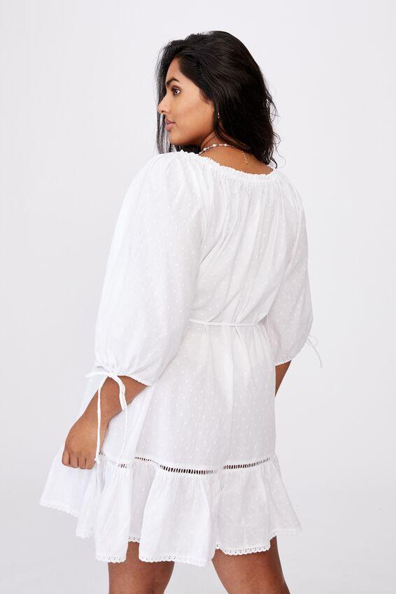 Curve Woven Cherry Smock Dress, WHITE