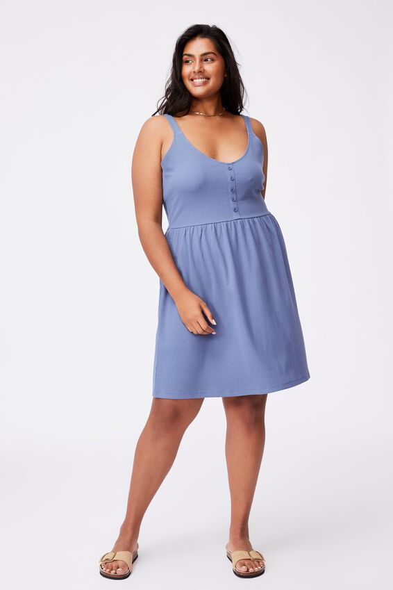 Curve Brianna Button Detail Wide Strap Mini Dress, COASTAL BLUE