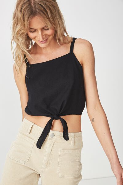 Reese Tie Front Cami, BLACK