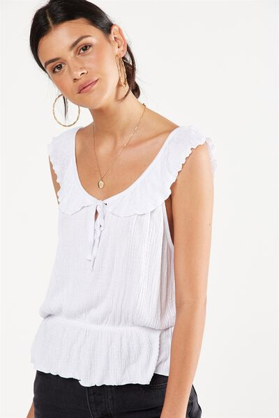 Lucy Ruffle Strap Top, WHITE