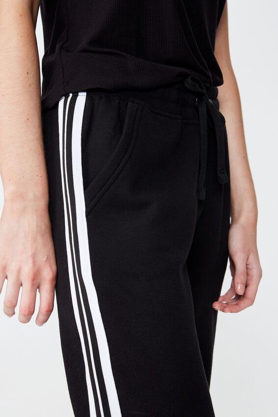 Slim Fit Trackpant, BLACK/GARDENIA SIDE TAPE