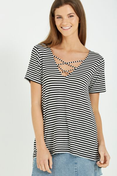 Ameri Short Sleeve Lace Up Tee, LAURA STRIPE BLACK/WHITE