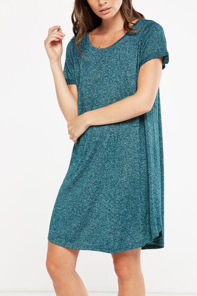 Tina Tshirt Dress 2, BOTANICAL GREEN/WHITE FLECK
