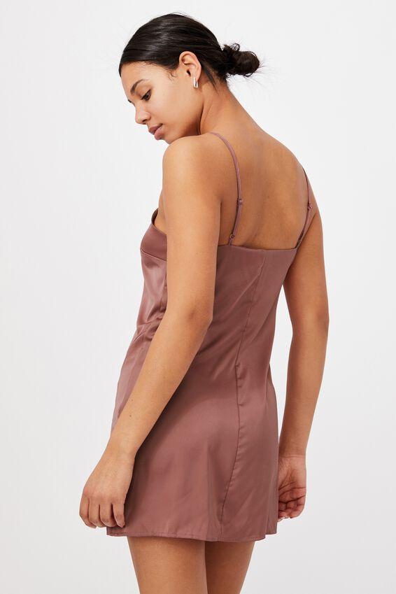 Woven Kerr Strappy Mini Dress, DARK MAUVE