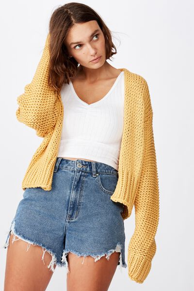 Chunky Cropped Cardi, MINERAL YELLOW