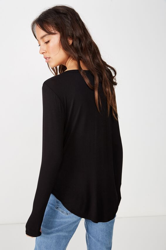 Karly Long Sleeve Top, BLACK